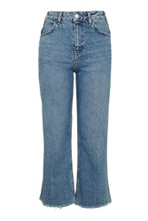 Topshop Moto Cropped Wide Leg Jeans Mid Stone