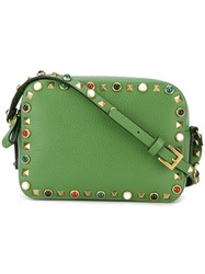 Valentino 'Rockstud Rolling' Camera Crossbody Bag Green