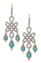Freida Rothman 14K Gold Plated Sterling Silver Cz And Turquoise Chandelier Earrings Black