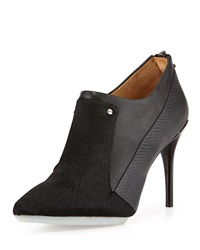 L.A.M.B. Tracie Leather And Calf Hair Bootie Black
