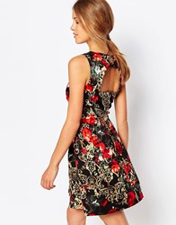 Closet London Cut Out Back Dress In Rose Chain Print Black Red
