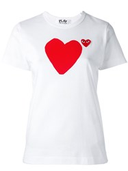 Comme Des Garcons Play 'Heart' Print T Shirt White