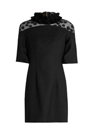 House Of Holland Flocked Polka Dot Crepe Mini Dress Black