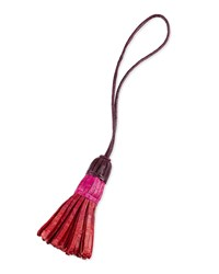 Nancy Gonzalez Crocodile Colorblock Tassel Charm Red Pink Burgundy Red Pink Burgundy