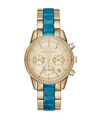 Michael Kors Ritz Goldtone Steel And Turquoise Acetate Bracelet Watch Blue