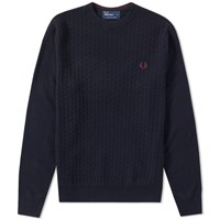Fred Perry Oxford Texture Crew Neck Sweater Blue