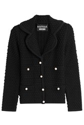 Boutique Moschino Virgin Wool Cardigan With Faux Pearls Black