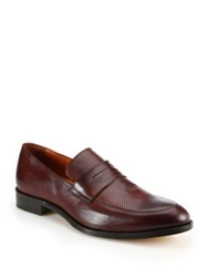 Saks Fifth Avenue Timothy Perforated Leather Penny Loafers Burnished Brown