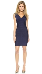 Herve Leger Sleeveless Cocktail Dress Pacific Blue