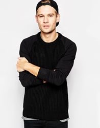 Pull And Bear Pullandbear Knitted Jumper With Contrast Sleeves Black