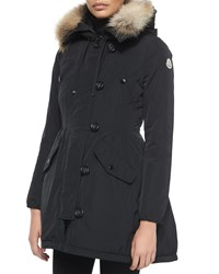 Moncler Arriette Fur Trim Puffer Coat Black