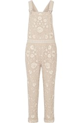 Needle And Thread Embellished Georgette Overalls Beige
