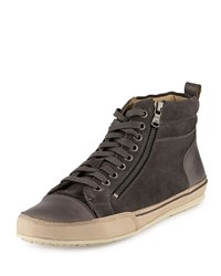 John Varvatos Kilay Suede Leather High Top Sneaker Oxide