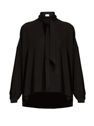 Balenciaga Neck Tie Silk Crepe Blouse Black