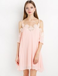 Pixie Market Pink Chiffon Lace Pleated Off The Shoulder Dress
