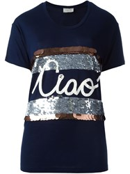 Lanvin Ciao Applique T Shirt Blue