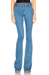 Veronica Beard Biscayne Braided High Waisted Jeans In Blue