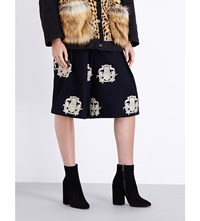 Dries Van Noten Pamplona Embroidered Linen And Wool Blend Culottes Navy