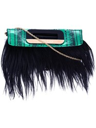 Borbonese Fur Detail Crossbody Bag Green