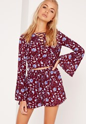 Missguided Paisley Crepe Printed Shorts Burgundy Burgundy