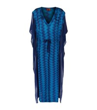 Missoni Mare Crepe Trim Long Lurex Kaftan Female Blue