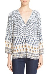 Joie Women's 'Sonoma' Feather Print Silk Peasant Top Faded Sky