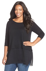 Eileen Fisher Silk And Cashmere Ballet Neck Top Plus Size Black