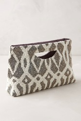 Moyna Trellis Beaded Clutch Dark Grey