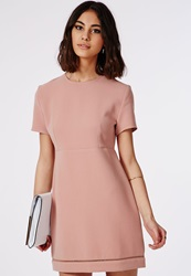 Missguided Hem Babydoll A Line Shift Dress Pale Pink