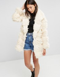 Glamorous Faux Fur Coat Cream Stripe Teddy