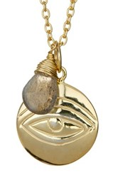 Argentovivo 18K Gold Plated Sterling Silver Labradorite Evil Eye Charm Necklace Metallic