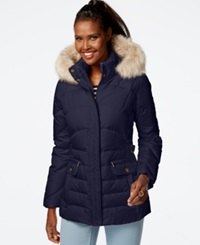 Larry Levine Faux Fur Hood Down Puffer Jacket Midnight