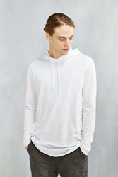 Feathers Double Layer Long Sleeve Hooded Tee White