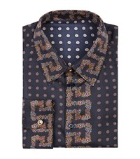 Versace Silk Tie Print Shirt Male Navy