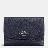Coach Medium Double Flap Wallet In Colorblock Leather Silver Navy Navy Metallic