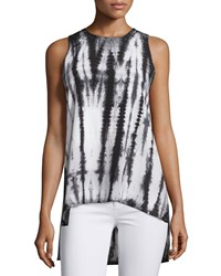 Nu Construction Tie Dye High Low Tank White Black