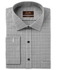 Tasso Elba Men's Classic Regular Fit Charcoal Glenplaid French Cuff Dress Shirt Only At Macy's