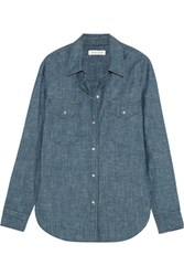 Etoile Isabel Marant Sila Cotton Chambray Shirt Mid Denim