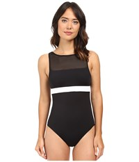 Lauren Ralph Lauren Mesh Blocked Solids Hi Neck One Piece Black Women's Swimsuits One Piece