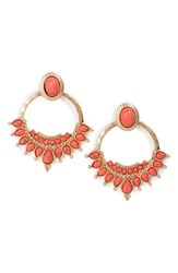 Danielle Nicole Women's 'Golden Burst' Hoop Earrings Antique Gold Coral
