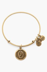 Women's Alex And Ani 'Initial' Adjustable Wire Bangle O Russian Gold