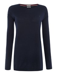 Tommy Hilfiger Thdw Basic Scoop Neck Sweater Navy