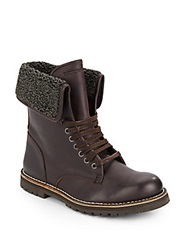 Emporio Armani Fleece Lined Leather Boots Dark Brown