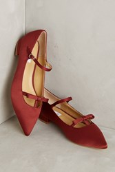 Anthropologie Vanessa Tao Pointed Bow Flats Wine