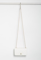 Forever 21 Quilted Faux Leather Crossbody Cream
