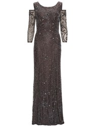 Gina Bacconi Beaded Maxi Dress With Cut Out Shoulder Pewter