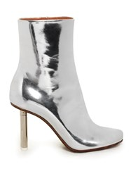 Vetements Toe Detail Leather Ankle Boots Silver