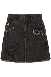 Marc Jacobs Embellished Appliqued Denim Mini Skirt Black