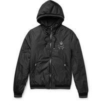 Dolce And Gabbana Leather Trimmed Embroidered Shell Hooded Jacket Black