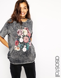 Asos Tall T Shirt In Acid Wash And Floral Print Black